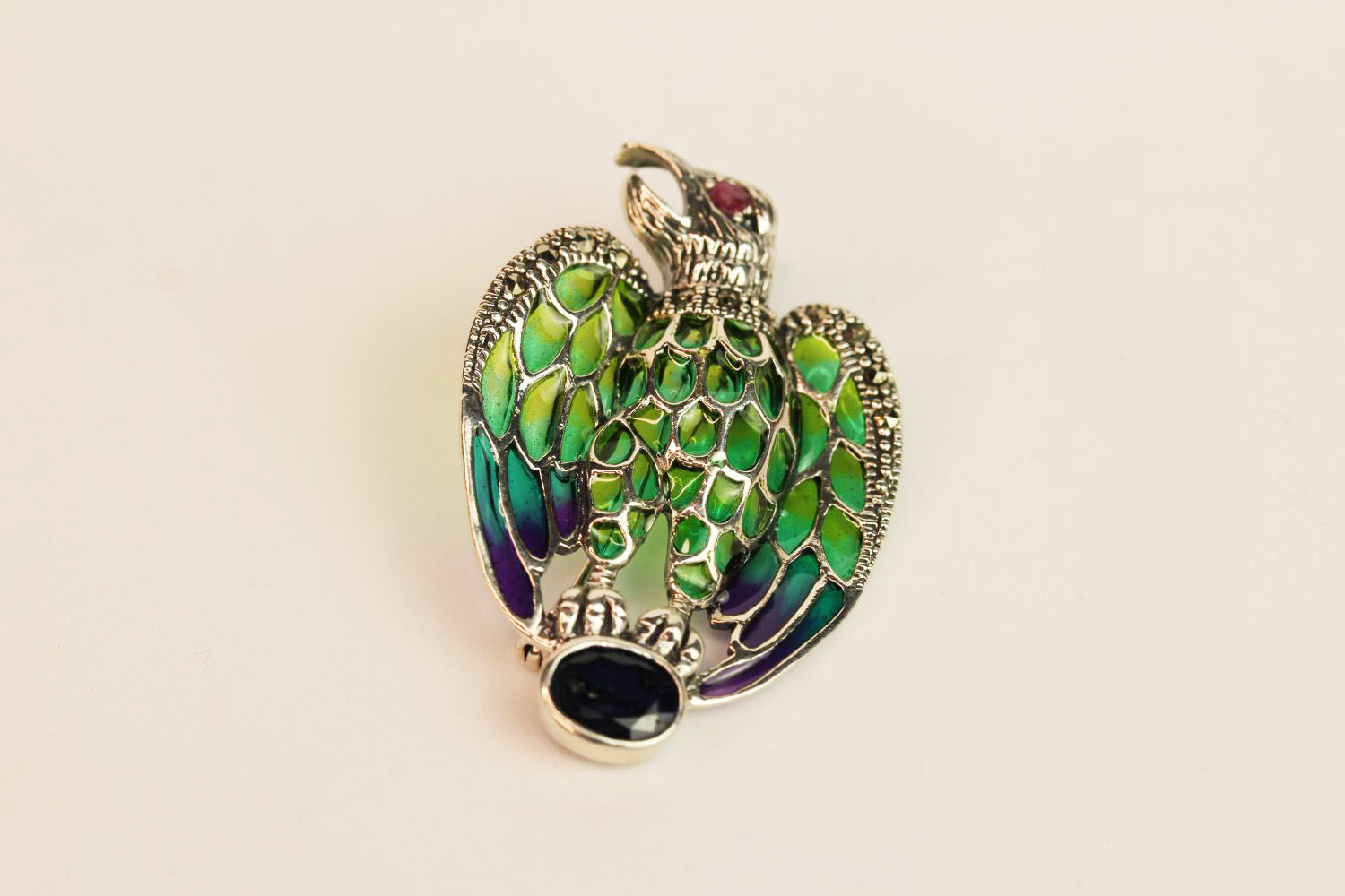 Silver plique-à-jour eagle brooch/pendant with sapphire, ruby eye, marcasites and enamel,