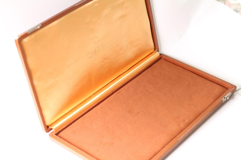 Vintage Oversized Omega Display Box, Tan Leather bound case, Velvet interior, approximately 46x25cm