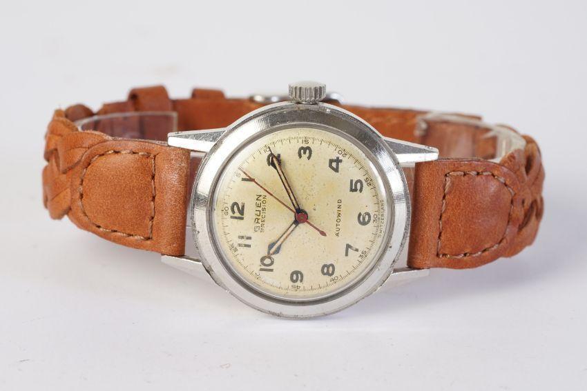 GENTLEMENS GRUEN PRECISION AUTOWIND WRISTWATCH, circular patina dial with arabic numeral hour