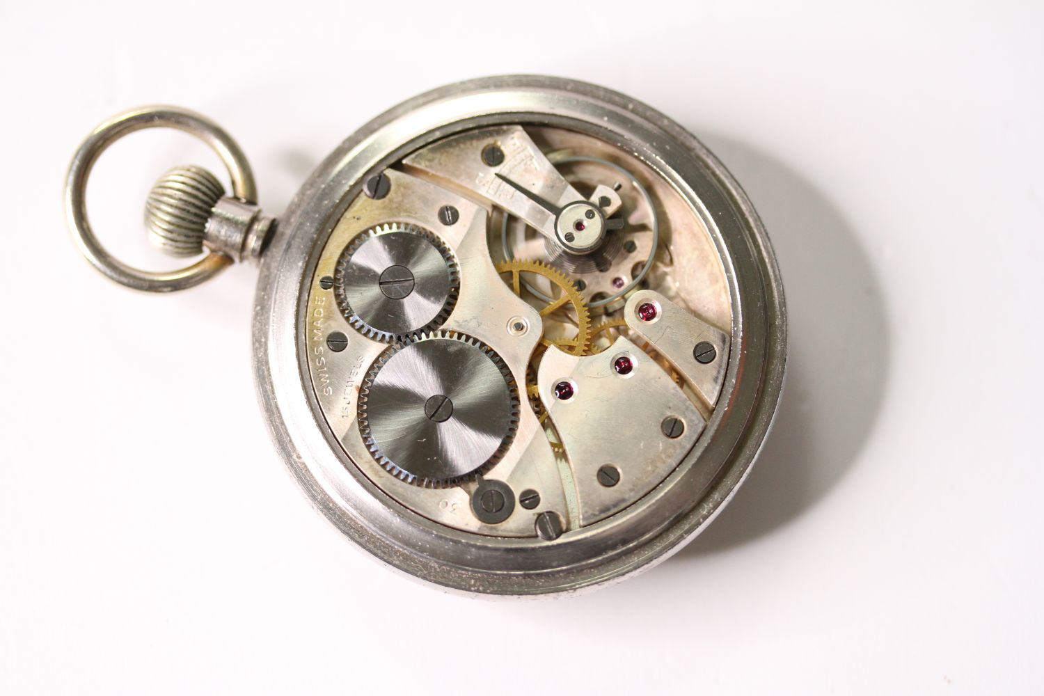 VINTAGE REVUE THOMMEN G.S.T.P MILITARY POCKET WATCH SERVICED, circular cream dial with arabic - Image 4 of 4