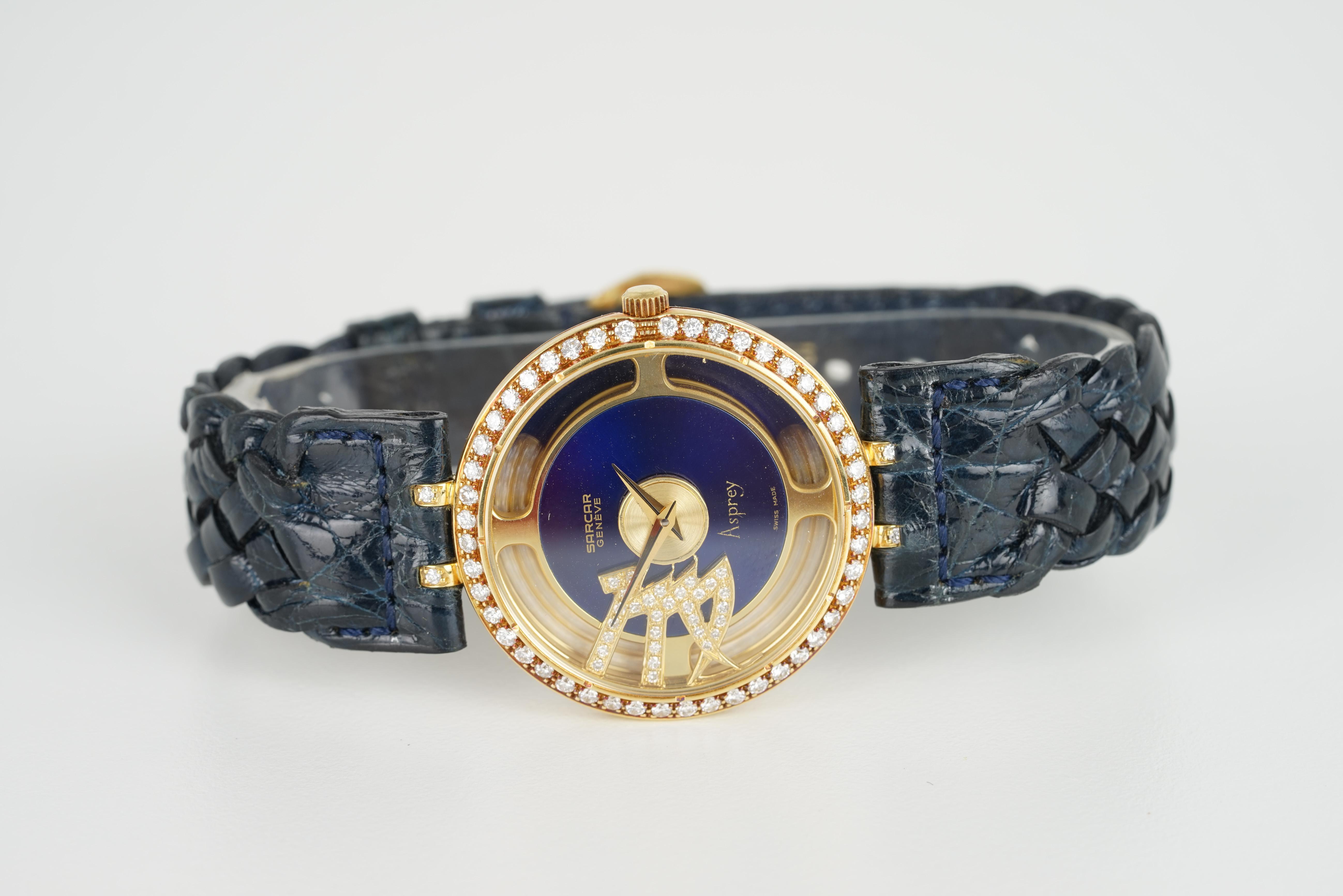 GENTLELMENS SARCAR GENEVE ASPREY 18CT GOLD DIAMOND SET WRISTWATCH, circular dial with dauphine - Image 2 of 3