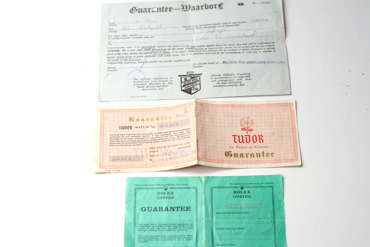 ROLEX AND TUDOR PAPERS, two pieces of guarantee paperwork for a Rolex DateJust dated 1970, Tudor