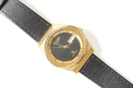 VINTAGE CITIZEN CRYSTRON CIRCA 1980s WITH BOX AND FULLY SERVICED, circular black dial, day and