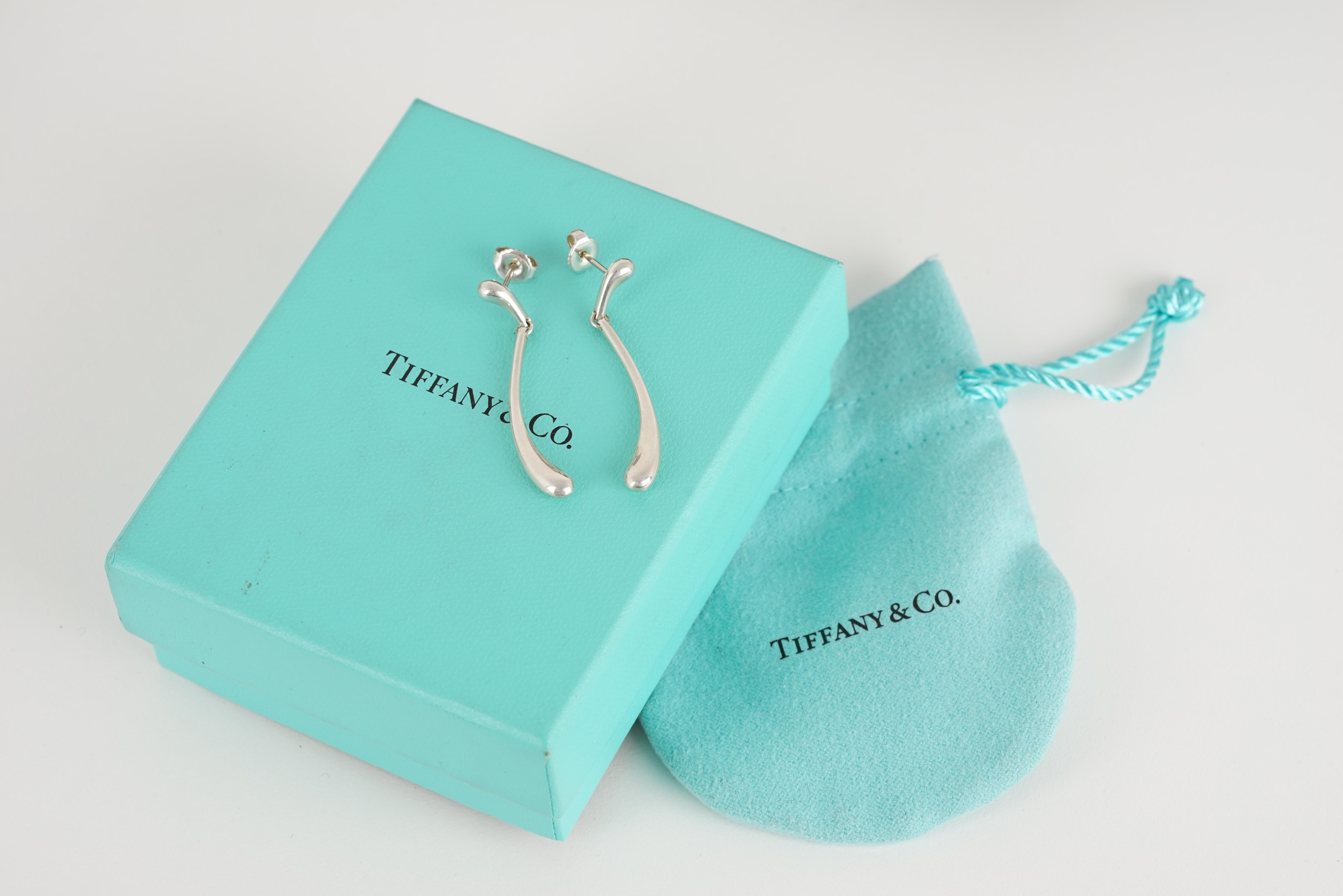 PAIR OF TIFFANY & CO ELSA PERETTI DROP EARRINGS W/ BOX & POUCH, tiffany and co earrings designed