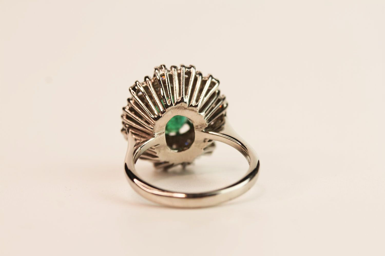 Emerald & Diamond Dress Ring, estimated 1.00ct oval cut emerald, claw set, 18ct white gold, - Image 3 of 3