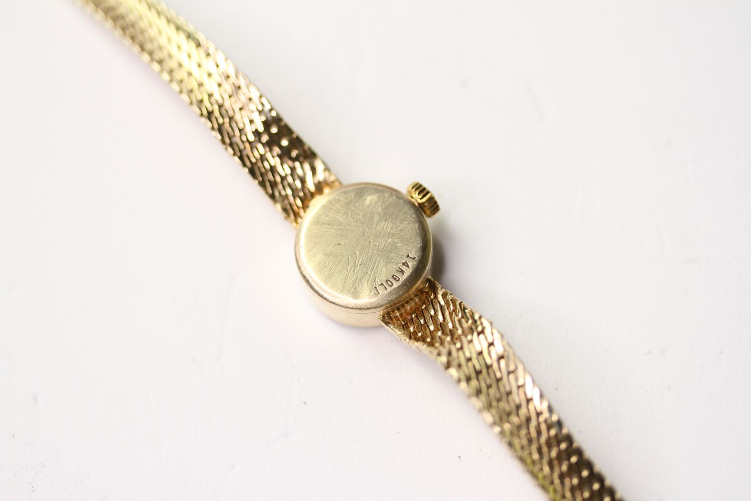VINTAGE OMEGA WRISTWATCH, circular silver dial with baton hour markers, 14mm 14ct gold case, snap - Image 3 of 3
