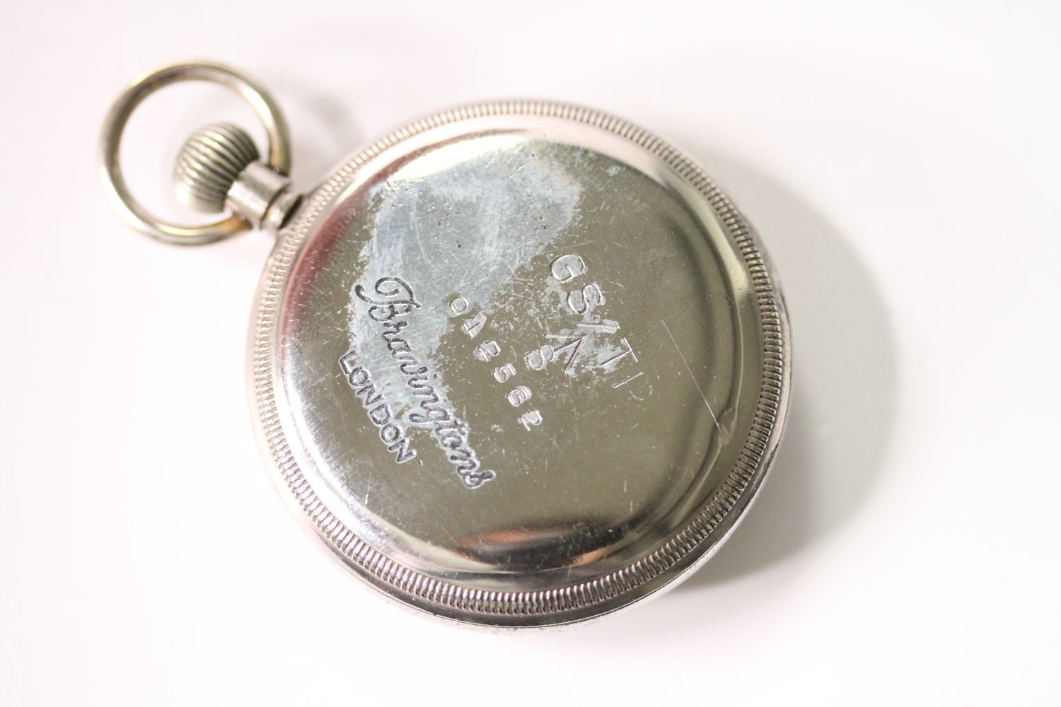 VINTAGE REVUE THOMMEN G.S.T.P MILITARY POCKET WATCH SERVICED, circular cream dial with arabic - Image 2 of 4
