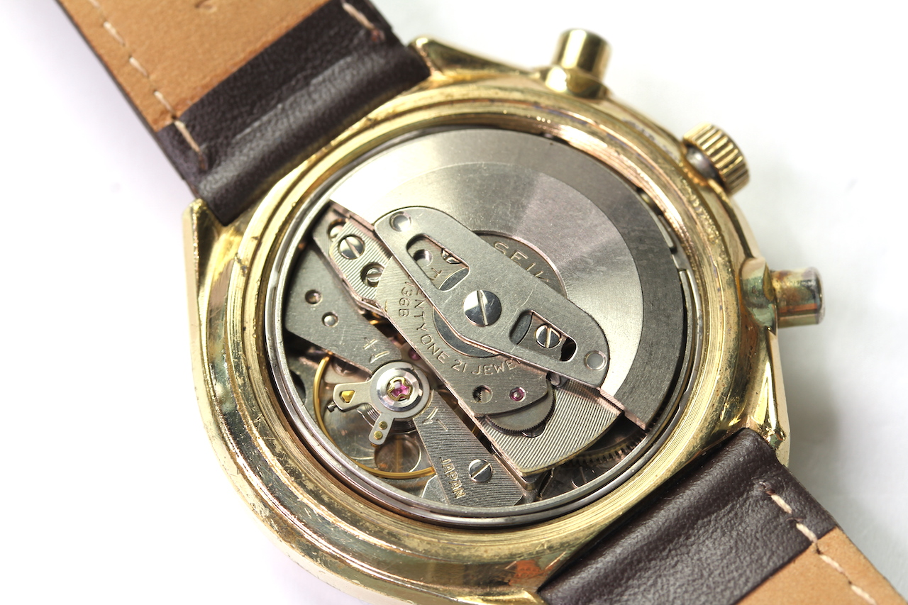 SEIKO KAKUME DAY DATE CHRONOGRAPH AUTOMATIC REFERENCE 6138-8030, circular black dial with two gold - Image 4 of 4