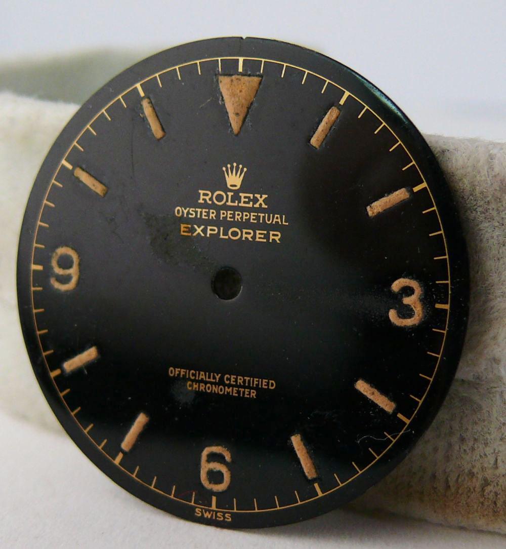 1950s Rolex Gents Explorer Dial Ref 6610, genuine 1950s rolex explorer dial showing some radium burn