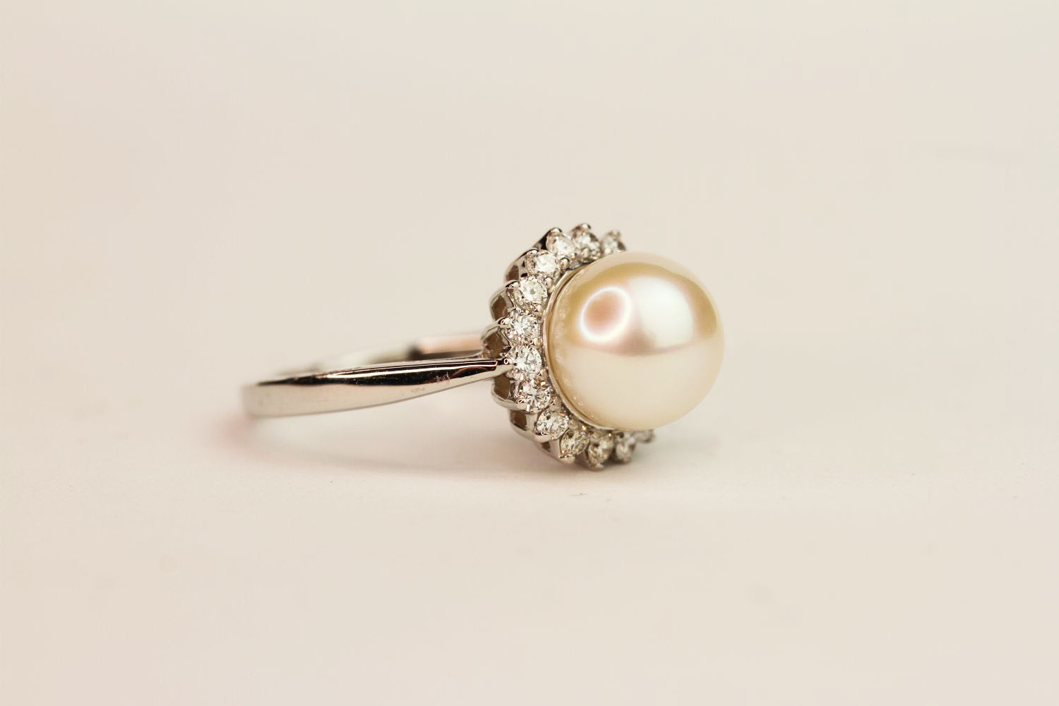 9ct white gold pearl and diamond halo ring. Diamonds 0.37ct, ring size N1/2. - Image 2 of 3