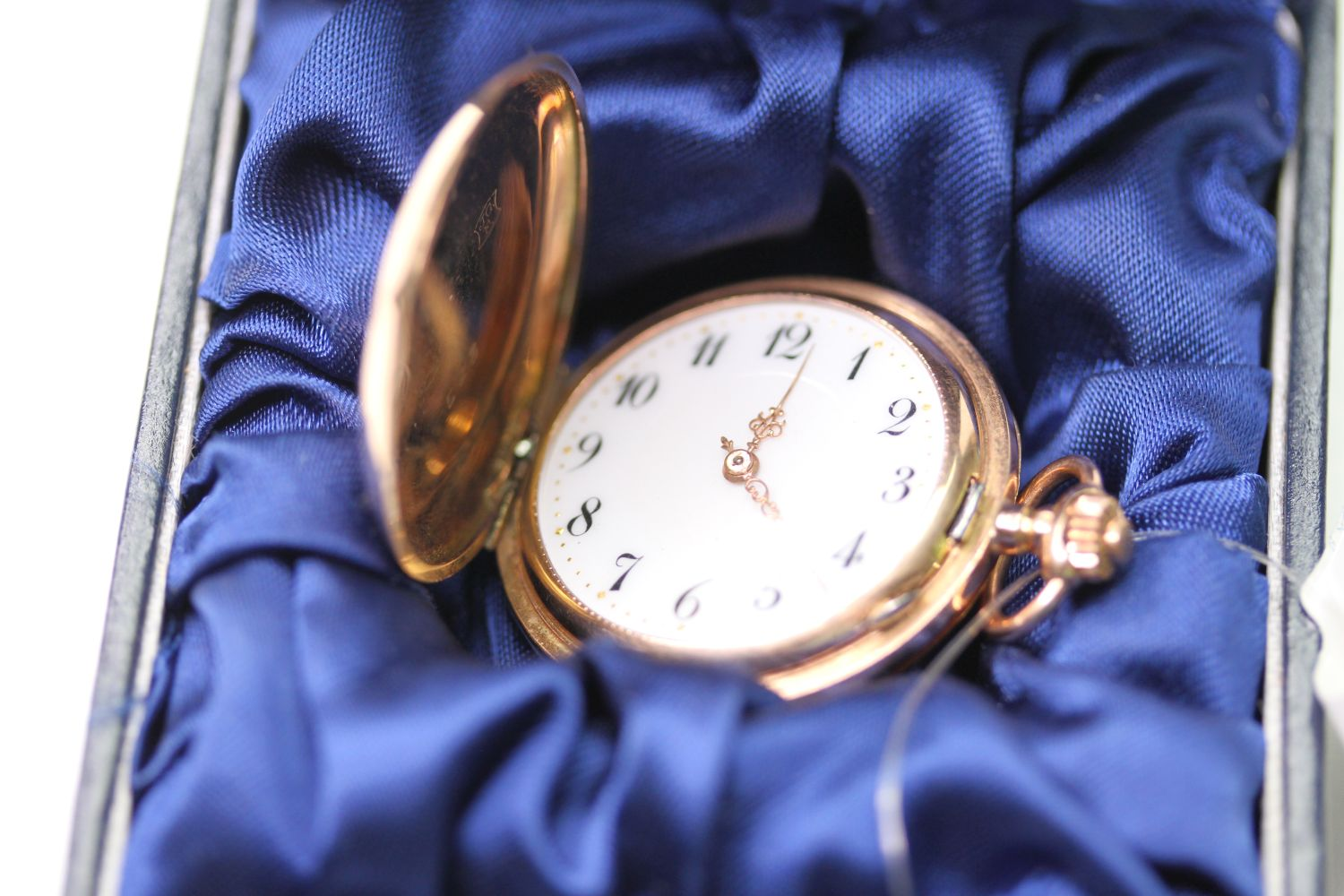 14CT GOLD FOB WATCH, circular white dial with arabic numbers, 31mm case, stamped J.G.F. 585 33523, - Image 2 of 4