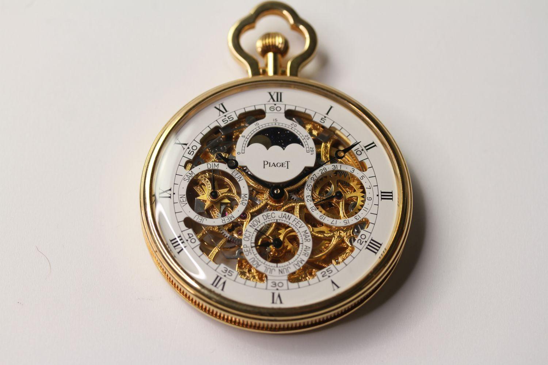 VINTAGE 18CT PIAGET SKELETON POCKET WATCH PERPETUAL CALENDAR, circular white skeleton dial with - Image 3 of 3