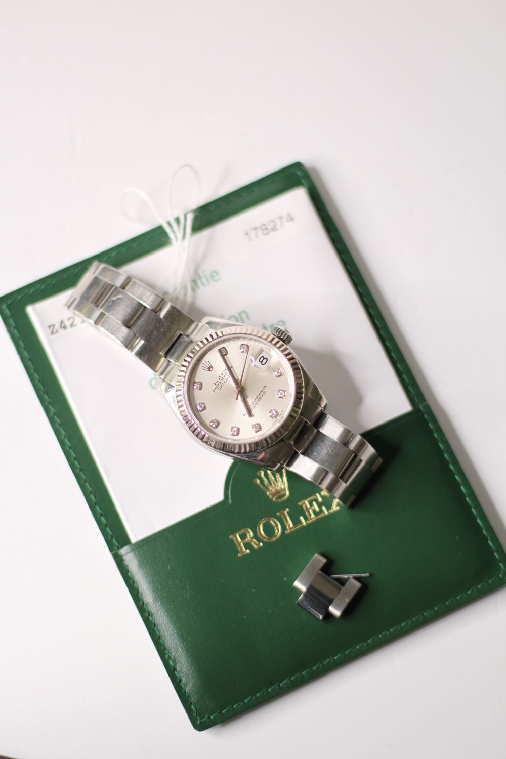 ROLEX DIAMOND DIAL DATEJUST WRISTWATCH REF 178274 W/PAPERS, circular silver dial with diamond hour - Image 3 of 5