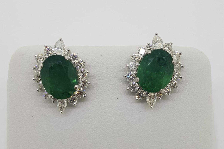 Pair Of Emerald & Diamond Earrings, set with round brilliant diamonds - Image 4 of 4