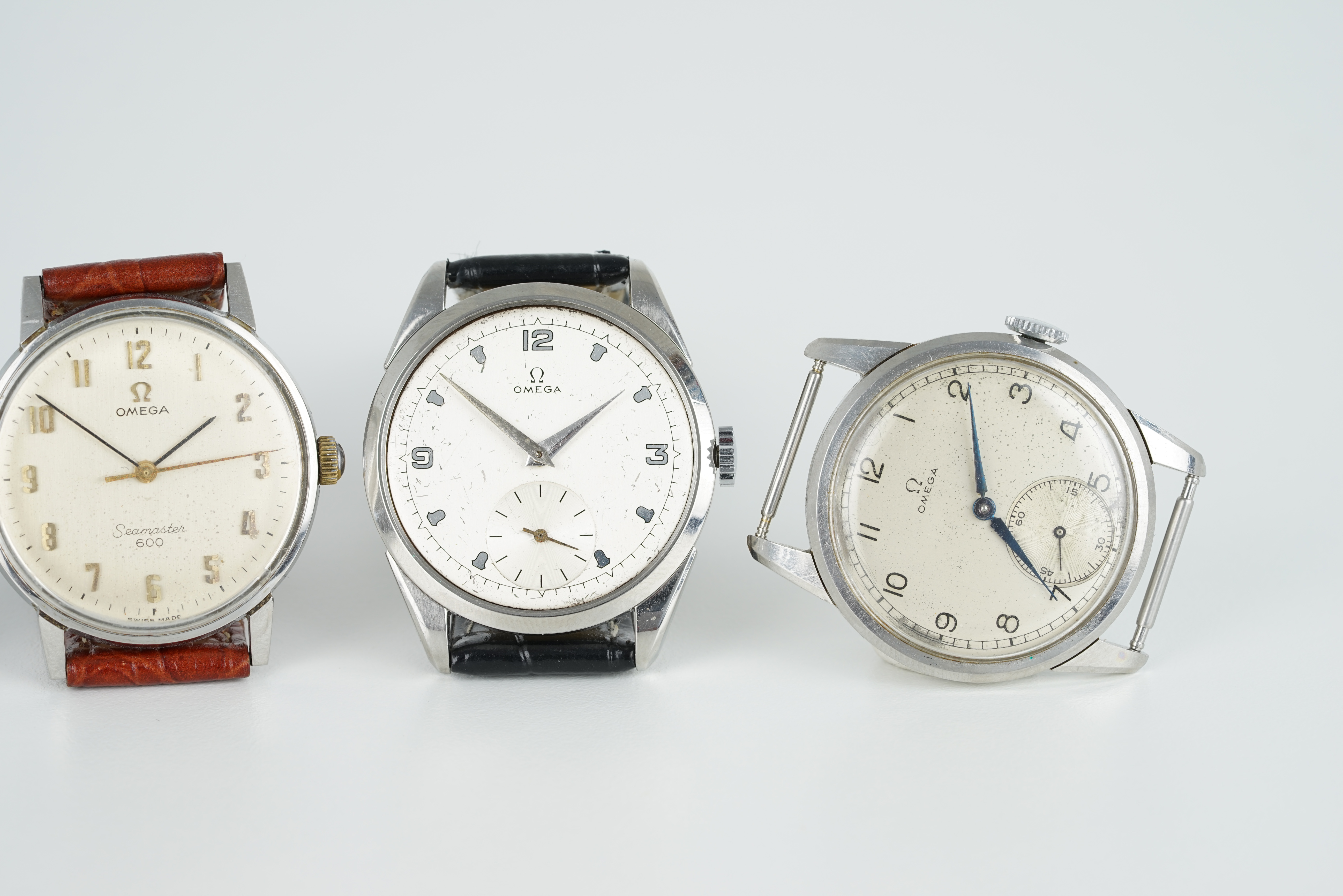 GROUP OF 4 OMEGA WRISTWATCHES, all stainless steel cases with manually wound movements inside, all - Image 3 of 3