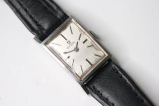 LADIES OMEGA MANUAL WIND WRIST WATCH, rectangular silver dial with baton hour markers, 26mm