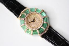 LADIES 18CT DIAMOND AND GREEN CRYSTAL CORUM PRINCESS LIMELIGHT, circular diamond dial, 26mm 18ct