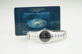 LADIES LONGINES DATE WRISTWATCH W/ GUARANTEE CARD, circular black dial with arabic numeral hour