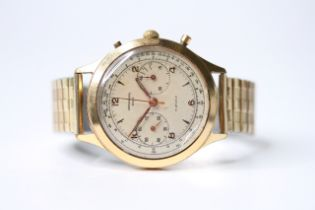 VINTAGE CHRONOGRAPHE SUISSE OVERSIZE, circular champagne dial with arabic numeral hour markers,