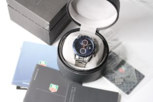 TAG HEUER CARRERA CHRONOGRAPH BOX AND PAPERS 2006, circular sunburst blue dial with baton hour