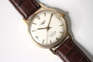 VINTAGE 9CT LONGINES FLAGSHIP AUTOMATIC REFERENCE 3403, circular silver dial with baton and arabic