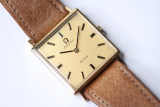 OMEGA DE VILLE WRIST WATCH, square champagne dial wirh baton hour markers, 26mm gold plated case,