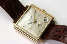 LONGINES 18CT ULTRA CHRON AUTOMATIC WITH BOX, cream square dial with baton hour markers, date