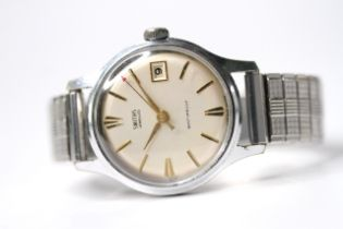 VINTAGE SMITHS JEWELLED SHOCKPROOF MANUAL WIND, circular cream dial with baton hour markers, red