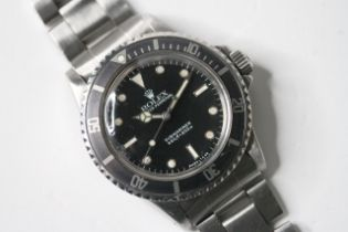VINTAGE ROLEX SUBMARINER REFERENCE 5513 CIRCA 1975, circular black with applied hour markers,