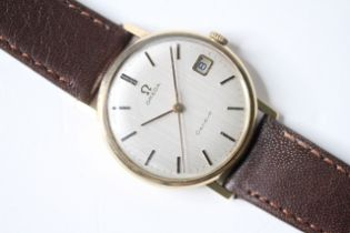 VINTAGE 9CT OMEGA GENEVE WRIST WATCH, circular silver dial with baton hour markers, date function at