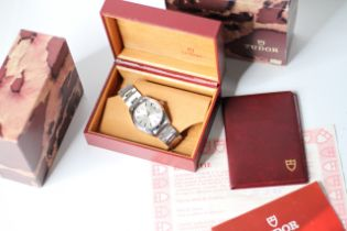 VINTAGE TUDOR OYSTER PRINCE DAY-DATE BOX AND PAPERS 1985 REF 70170, circular sunburst silver dial