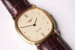 LONGINES QUARTZ WRISTWATCH, oval shaped cream dial with dot and roman numeral hour markers, 29mm