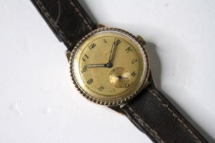 VINTAGE 9CT STERILE DIAL WRIST WATCH, circular champagne dial with arabic numeral hour markers,