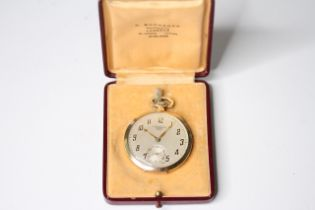 RARE 9CT C.BUCHERER'S ROLEX POCKET WATCH WITH BOX, circular silver dial with Art Deco arabic numeral