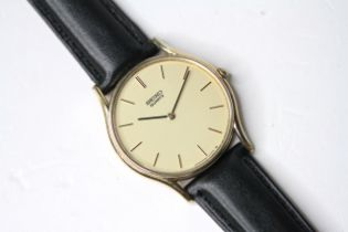 *TO BE SOLD WITHOUT RESERVE* SEIKO QUARTZ GOLD PLATED WRIST WATCH, circular champagne dial with