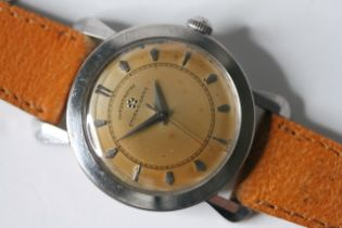 VINTAGE ETERNA-MATIC CHRONOMETER WITH ART DECO CASE CIRCA 1950S, domed patina dial with block hour