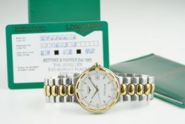 GENTLEMENS LONGINES CONQUEST WRISTWATCH W/ GUARANTEE, circular white dial with gold tone hour