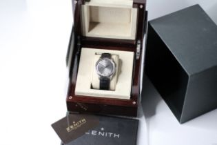 ZENITH 18CT ELITE ULTRA THIN BOX AND PAPERS 2014, ciruclar sunburst grey dial with applied hour