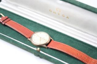 VINTAGE 9CT OMEGA 30T2 WITH BOX circa 1940s, circular dial, Arabic and dot hour markers,
