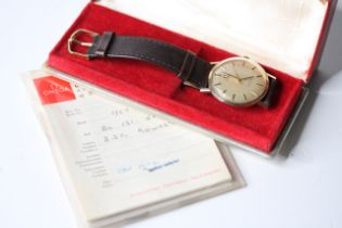 VINTAGE 9CT OMEGA GENEVE BOX AND PAPERS 1972, circular champagne dial with baton hour markers,