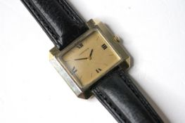 VINTAGE LONGINES GOLD FILLED WRIST WATCH, rectangular champagne dial with roman and baton hour