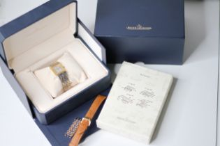 JAEGER-LECOULTRE REVERSO STEEL AND 18CT GOLD BOX AND BOOKLETS REFERENCE 250.5.86, rectangular silver