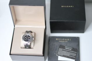BULGARI DIAGONO CHRONOGRAPH BOX AND PAPERS REFERENCE DP42SCH, circular black dial with applied baton