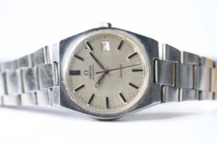 OMEGA GENEVE AUTOMATIC, silvered dial, baton hour markers, date aperture, 34mm case screw down