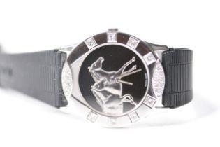 18CT CORUM FOR ASPREY DIAMOND BEZEL WRIST WATCH, black circular dial with two galloping horses,