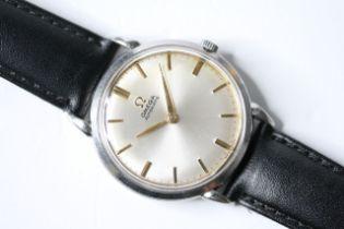 VINTAGE OMEGA AUTOMATIC BUMPER MOVEMENT REFERENCE 2398-1, circular sunburst silver dial with baton