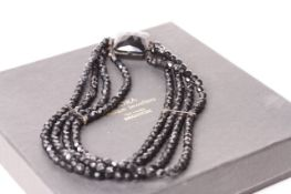 Faceted Jet multi row choker,four rows of Jet beads, faceted Jet clasp, 35cm long
