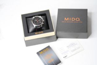 MIDO MULTIFORT CHRONOGRAPH QUARTZ BOX AND PAPERS 2011, circular black dial with three subsidiary