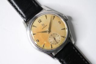 VINTAGE OMEGA MANUAL WIND WRIST WATCH, circular champagne patina dial with baton and arabic
