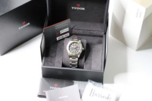 TUDOR BLACK BAY HARRODS EDITION BOX AND PAPERS JULY 2021, circular black gilt dial with applied hour